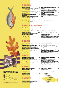 Download our food menu at the bucket list Bondi